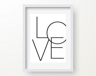 Love Print, Romantic Art, Valentines Day Print, Black And White, Inspirational Quote, Modern Art Print, Digital Print, Wall Art