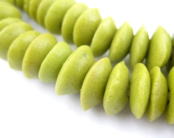 120 Lime Green Ashanti Glass Saucer Beads - African Saucer Beads - Green Saucer Beads - African Disk Beads - African Beads (SAND-DSK-GRN-73)