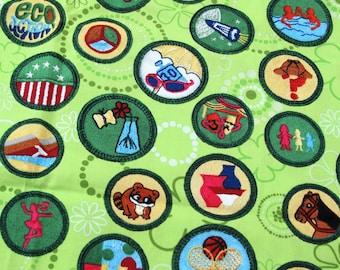 Girl Scout Green Badges Cotton Fabric, Sewing Fabric, Robert Kaufman, Fabric Yardage, Girls Scouts, Scout Badges, Girl Scout Sash,  1/2 Yard