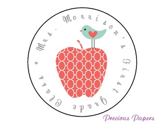 20 Personalized Moroccan apple Stickers teacher stickers  Round apple Labels apple Return address label