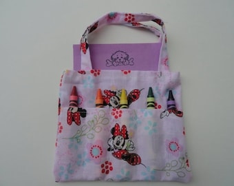 Minnie Mouse Children's Crayon Bag and Customized Paper, Birthday Party Favor