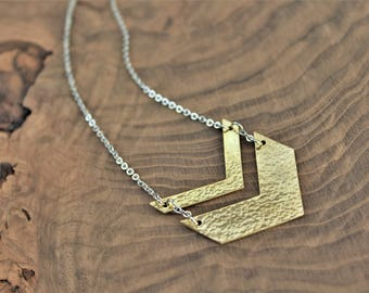 Chevron necklace, double chevron necklace, silver and gold, mixed metals, hammered jewelry, long chevron necklace, chevron pendant