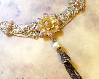 Rose Assemblage Necklace, Assemblage Necklace, Vintage Assemblage, Statement, Assemblage Jewelry, Statement Jewelry, Pink, Jewelry, Floral