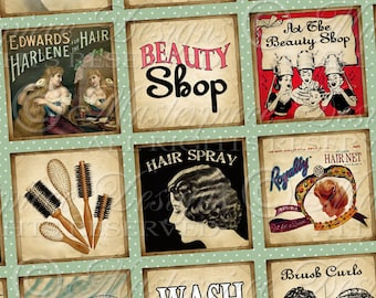 Beauty Shop Printable Squares - Printable Collage Sheet / Retro Hair Salon / Hairstyle - One Inch Square Designs, Download and Print JPG