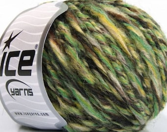Peru Alpaca Bulky Yarn Green Brown Yellow Cream Twist -  #53354 Ice Merino Wool Alpaca Acrylic 50g 65y