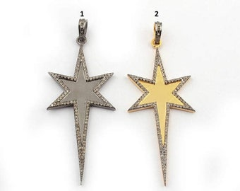 Memorial Day 1 Pc Pave Diamond Star Charm Pendant Over 925 Sterling Silver /  Vermeil (You Choose) 66mmx26mm Pd1306