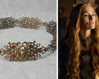 "Hair ornaments / headdress / Headpiece / Tiara / Crown / Circlet / ""Cersei"" Game of thrones GOT Antique Medieval Queen Godess Lion"
