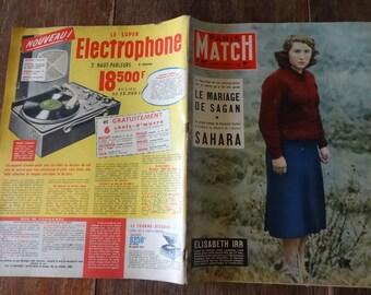 Vintage French Paris Match Magazine No 467 Le Mariage De Sagan Sahara Special circa 22 Mars March 1958 / English Shop