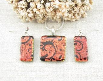 Orange and Black Fused Dichroic Pendant and Earring Set - Dichroic Glass Pendant and Hanging Earring Set - Handmade Dichroic Glass Jewelry