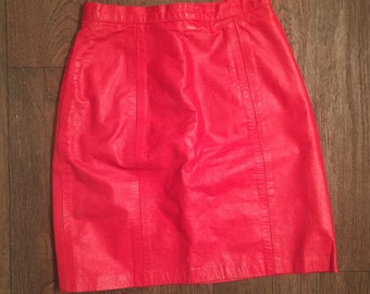 Hot red leather mini skirt