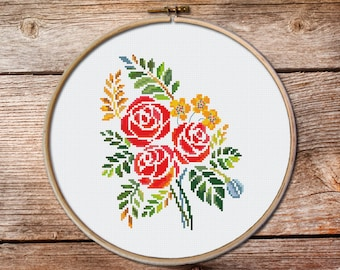bouquet of flowers cross stitch pattern, Cross Stitch Pattern, flowers pattern counted cross stitch, floral cross stitch, Instant download