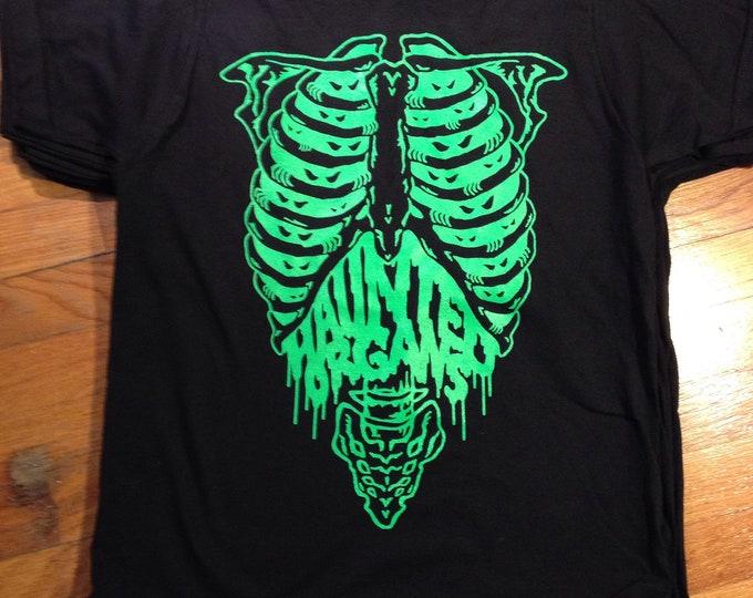 HAUNTED ORGANS skeleton tee 100% american made ringspun cotton bayside 5000 fluorescent ink