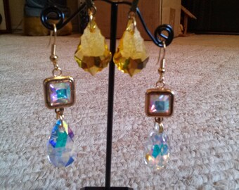 Gold squared earrings with crystal AB center and interchangable crystal AB and yellow drops. 3 pairs of earrings in 1!