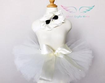 Ivory tutu set,newborn tutu set,baby tutu and headband,baby ivory tutu set,infant tutu,0-6months props,newborn photo props