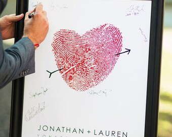 Wedding Guest Book Alternative, Fingerprint GuestBook Poster with Thumbprint Heart, Canvas Guests Sign In for Reception