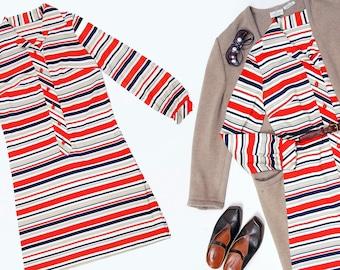 70s orange, white, beige, & navy blue striped long sleeve dress - size small-medium
