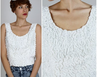 Vintage 1960s White Ribbon Rosette Textured Sleeveless Tank Top Blouse by Robinson's California | Small/Medium