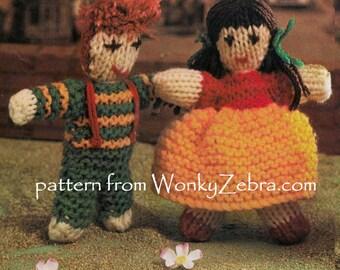 Vintage Knitted Dolls Pattern PDF 551 from ToyPatternLand and WonkyZebra