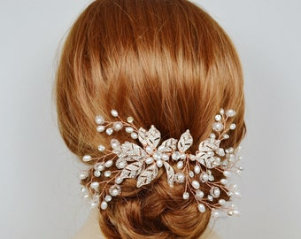 Bridal Hair Vine Pearl Comb Crystal Leaves Flower Silver Gold Rose Gold Branches Wedding Jewelry - Ships in 3-5 business Days