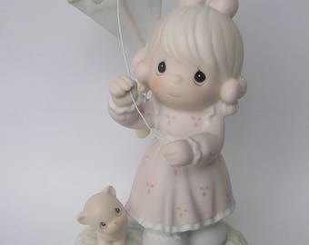 """Precious Moments """"Sending My Love Your Way"""" Porcelain Figurine - Enesco - Vintage Collectible - Girl with Kite - 1994 - Limited Edition"""