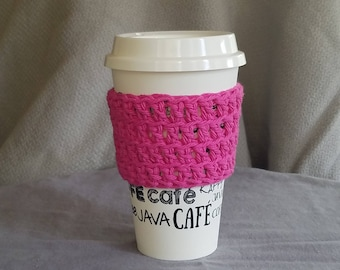 To go cup sleeve / hot cup jacket/ cup holder// Pink// think pink// green gift// ready to ship