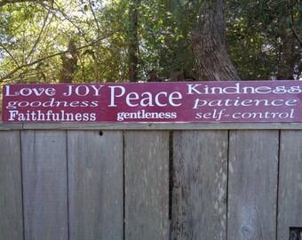 Fruit of the Spirit -Galatians 5 22 Love,55x7.25,Joy, Peace, Goodness, Faithfulness,Gentleness, Patience