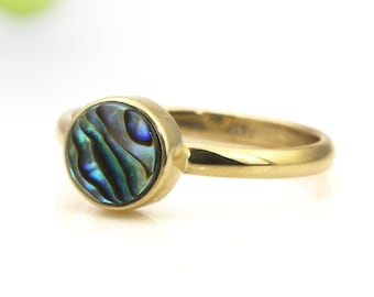 SUMMER SALE - Abalone ring,gold ring,bezel ring,delicate ring,shell ring,pearl ring,unique rings,handmade ring,stack ring