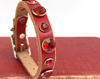 Red Leather Dog Collar with Rhinestones, EcoFriendly, Size XXS, to fit a 6-8in Neck, Small Collar Dog, Tiny Dog Collar, Seattle Handmade