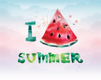 I love summer vector file, Digital download vector file for printing, PNG for heat transfer, Summer vector file, Drawing printable image