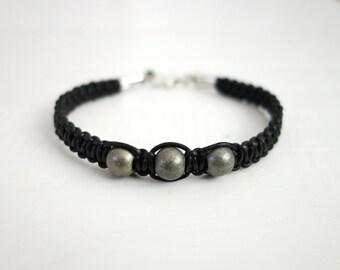 Mens leather bracelet macrame leather cuff metal beads bracelet unisex