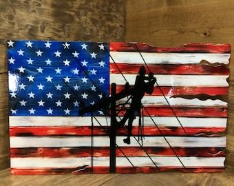 Lineman American Flag Tattered wood look