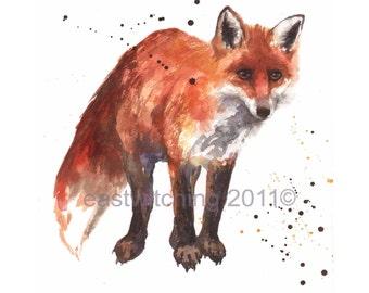 FOX Watercolour Print, fox, fox print, fox painting, red fox, for the woodsman