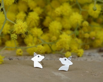 Unicorn earrings studs, Unicorn earrings, Stud earrings, Dainty earrings, Sterling silver earrings Unicorn studs Tiny earrings Gifts for her