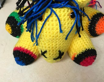 Crocheted colorful horse