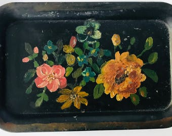 Super Cute / Shabby Chic / Primitive Metal Tray with Hand-Painted Floral Design