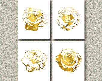 Flower Printable Art Set of 4 Prints Rose Gold White Decorations Home Decor Office Decor Floral Decor Gift Digital Art / Instant Download