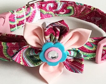 Pink Paisley Collar with Flower for Female Dogs or Cats