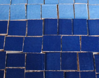 Ceramic Mosaic Tiles - Ombre Shades Of Dark Blue Mosaic Tile Pieces Shades Of Blue Tiles - 40 Pieces - For Mosaic Art / Mixed Media Art