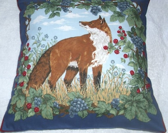 Mr Fox in the hedgerow cushion