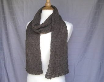 Soft Brown Scarf, Baby Alpaca, Baby Alpaca Scarf, Luxury Natural Fiber, Hand Knit, Long Wrap Scarf, Gift for Her, Cuddly Neck Scarf