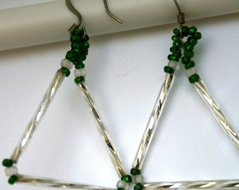 MSU Green and White Triangle earrings