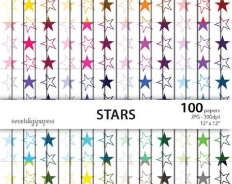 Colors stars digital paper, stars background, rainbow stars digital paper pack, rainbow scrapbook paper, instant download