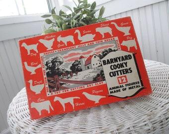 Vintage Farmhouse Cookie Cutters * Barnyard Cooky Cutters * Original Box