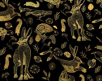 Folk Tale Fabric - Tortoise And Hare Black Sepia By Allknitlong - Children's Animal Story Book Cotton Fabric By The Yard With Spoonflower