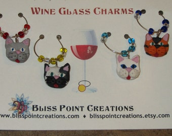 Cat Wine Charms