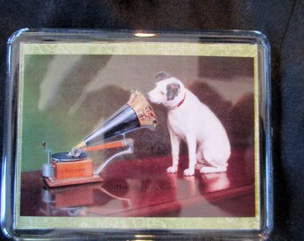 """His Master's Voice Iconic Victor Brand Dog Handmade Magnet 3.5x2.75"""""""