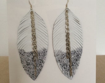 White Leather Feather Earrings - Dipped in Silver