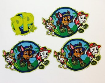 Hand cut iron on fabric Paw Patrol motifs/patches/embellishments