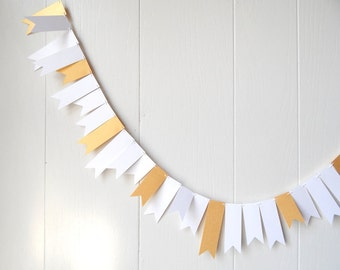White and Gold Garland Wedding Garland Bunting Flag Fringe Garland Summer Party