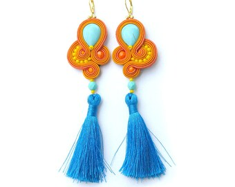 Long Clip - On Earrings -Unique  Handmade Soutache Earrings with Crystals and Tassels - Hand Embroidered Soutache Earrings
